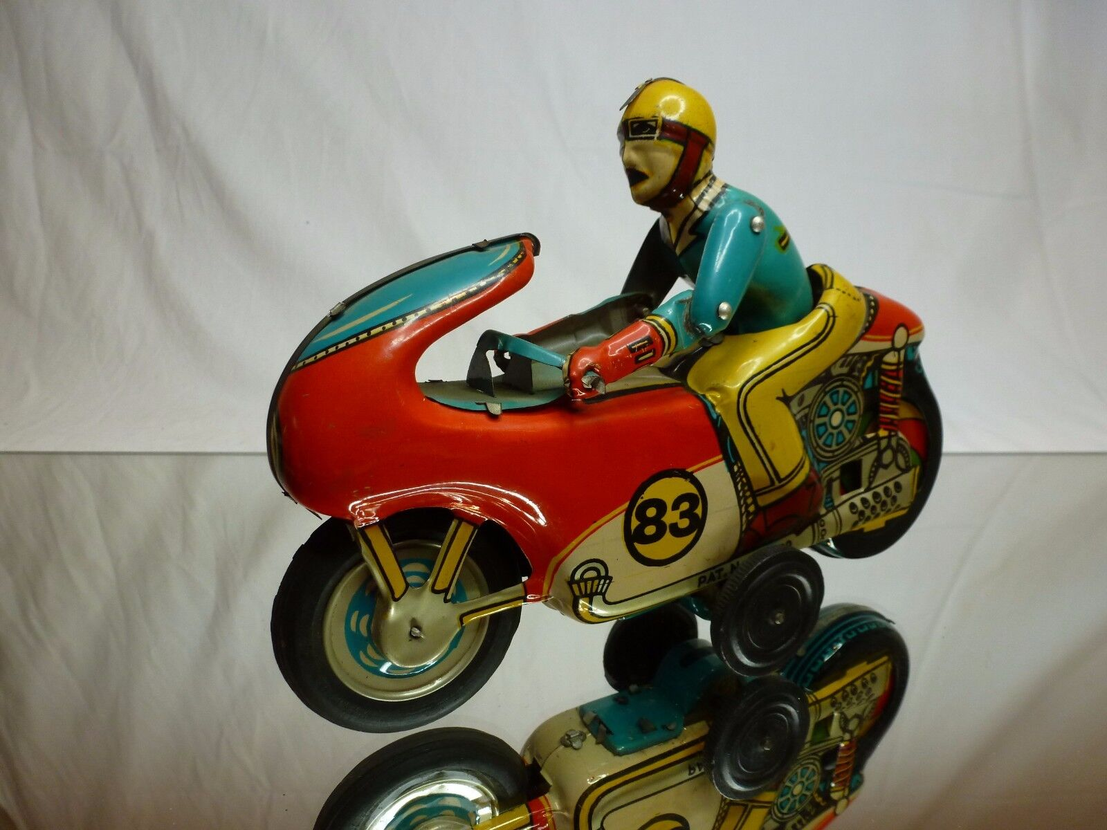 VINTAGE TIN TOY FRICTION HEC PRODUCT MOTORCYCLE + DRIVER - L20.0cm - GOOD