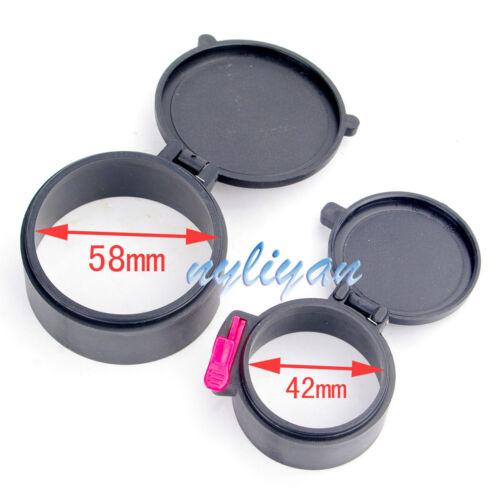 Dia 50mm/&40mm//58/&42mm//48/&42mm Anti-dust Scope Lens Cover Flip Cap Soft Elastic