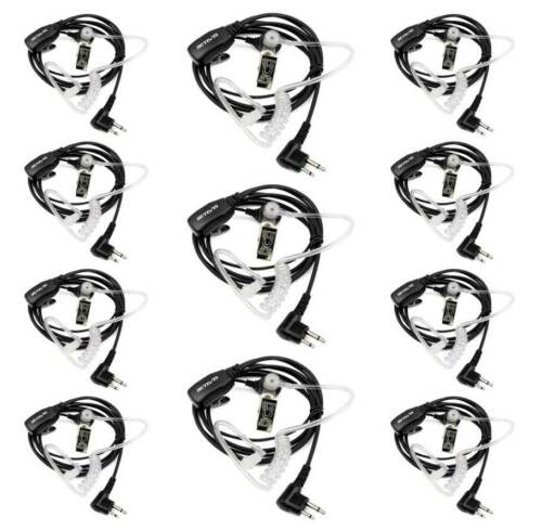 10XRetevis M001 2 Pin PTT Mic Covert Acoustic Tube Earpiece Headset For Motorola