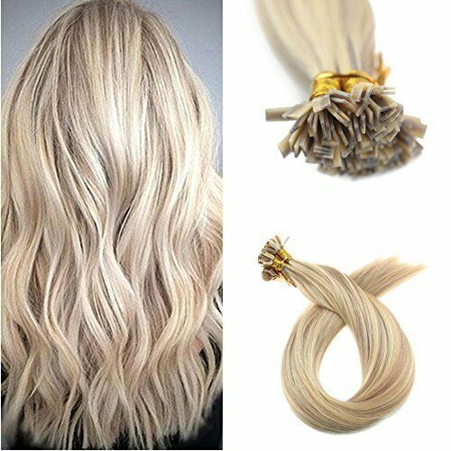 Ugeat 50g Piano Flat Tip Human Hair Extensions Pre Bonded Blonde Ombre Hair