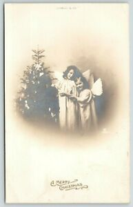 Christmas-2-Little-Angel-Girls-Decorate-Candle-Tree-1908-Real-Photo-RPPC-Germany