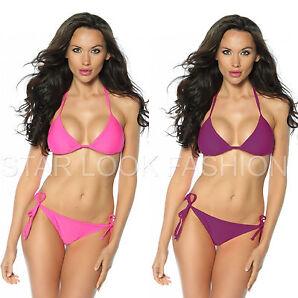Triangel Bikini Basic Bademode Bikini-Top Oberteil Slip pink lila Gr. S M 36 38