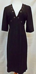 Thorn-by-Nancy-Rose-Dress-V-Neck-Empire-Waist-Short-Sleeve-Black-size-6