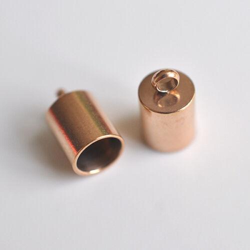 Or Rose Acier Inoxydable extrémités Ø 4,5 et Ø 5,5 mm avec//sans Mousqueton-Fermeture