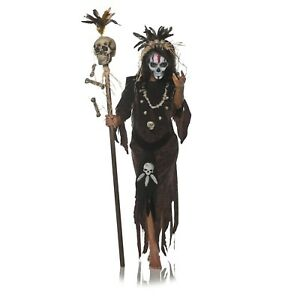 Adult Womens Voodoo Witch Doctor Dark Magic Hex Halloween Costume Dress S M L Xl Ebay
