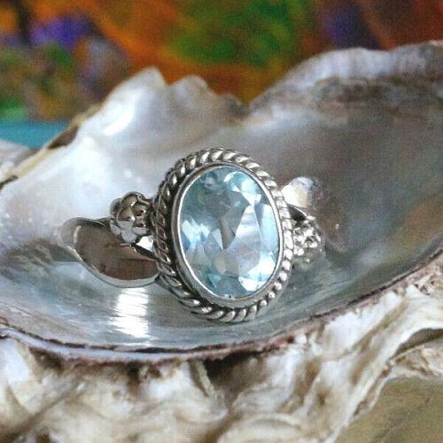 Silberring 52 53 55 56 Blautopas Blau Topas Vintage Schlicht Floral Silber Ring