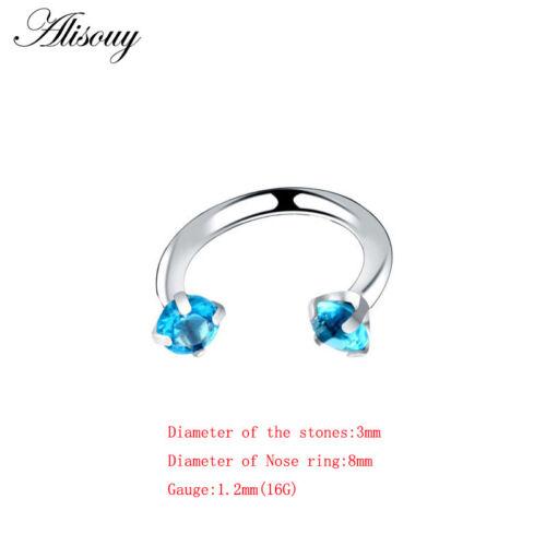 Cristal Acier 16 G Nez Lèvre Sourcil Téton Oreille Cartilage Helix captive Hoop Ring