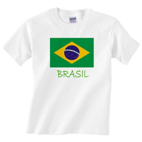 Children/'s BRASIL T SHIRT-ragazzi o ragazze Brasile Flag Tee