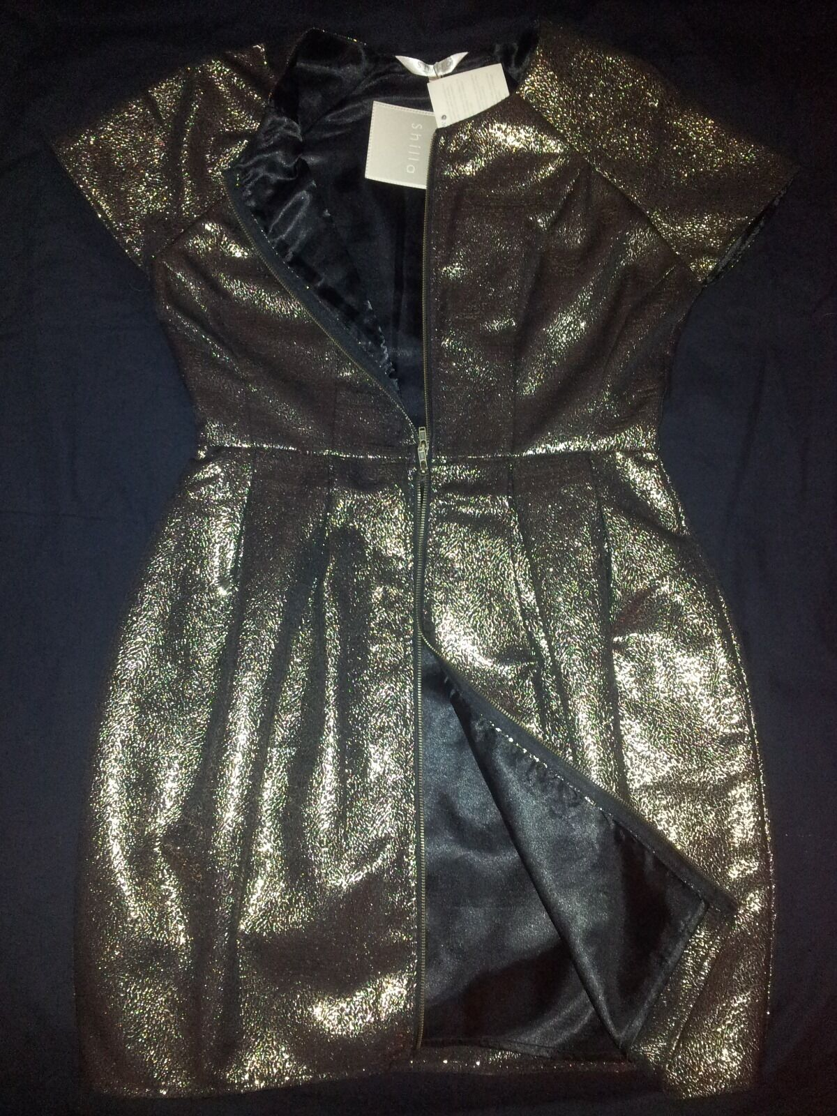 AUS MADE Shilla Gold Foil Jacquard Two Way Zip Up Front, Tulip, Cap Sleeve Dress
