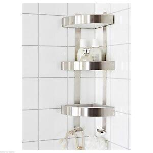 Rust resistant stainless steel 3 tier bathroom corner wall - Bathroom corner caddy stainless steel ...