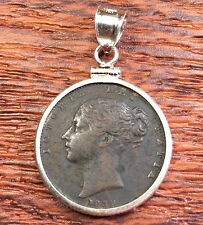 Antique Victorian 1839 Great Britain Queen Victoria Coin Silver Bezel Pendant!