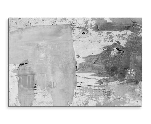 120x80cm Abstrakt/_958 Schwarz Weiß Modern Grunge Wandbild Leinwand Sinus Art