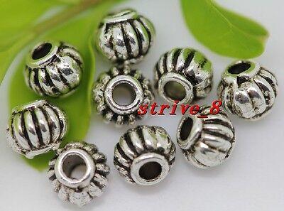 Wholesale Silver Lotus Flower Spacer Charm Bead Metal Loose JewelryFinding 6x4mm