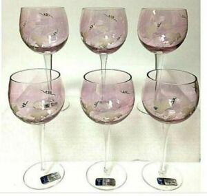 Romanian-Crystal-6-Piece-Rose-Burgundy-Gold-Grape-Leaf-Stemmed-Wine-Glass-Set