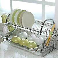 Kitchen 2 Tier Metal Dish Drainer Cup Drying Dish Rack Plates Holder Rack