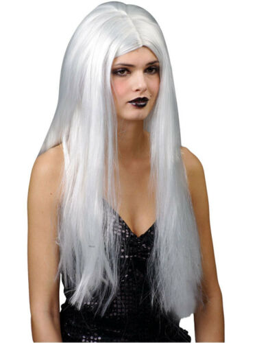 """Ladies Long Straight 24/"""" Silver White Wig Fancy Dress Halloween Old Witch Woman"""