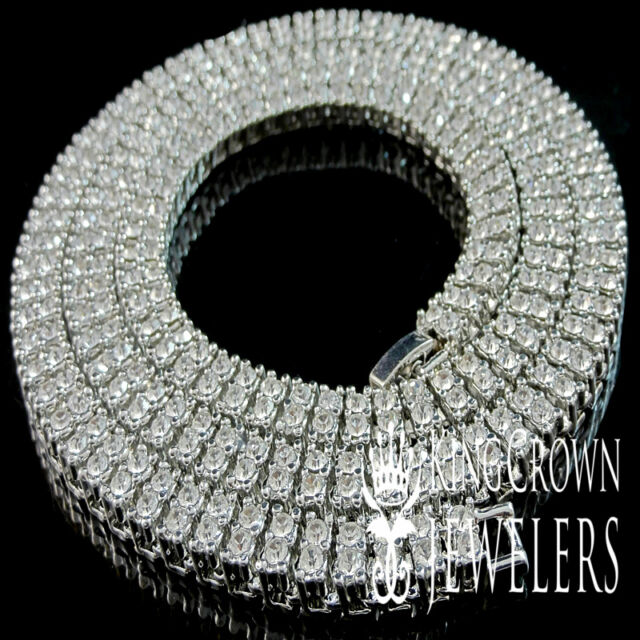 Mens New White Gold Finish Simulated Diamond 2 Row White Necklace Chain 30 Inch