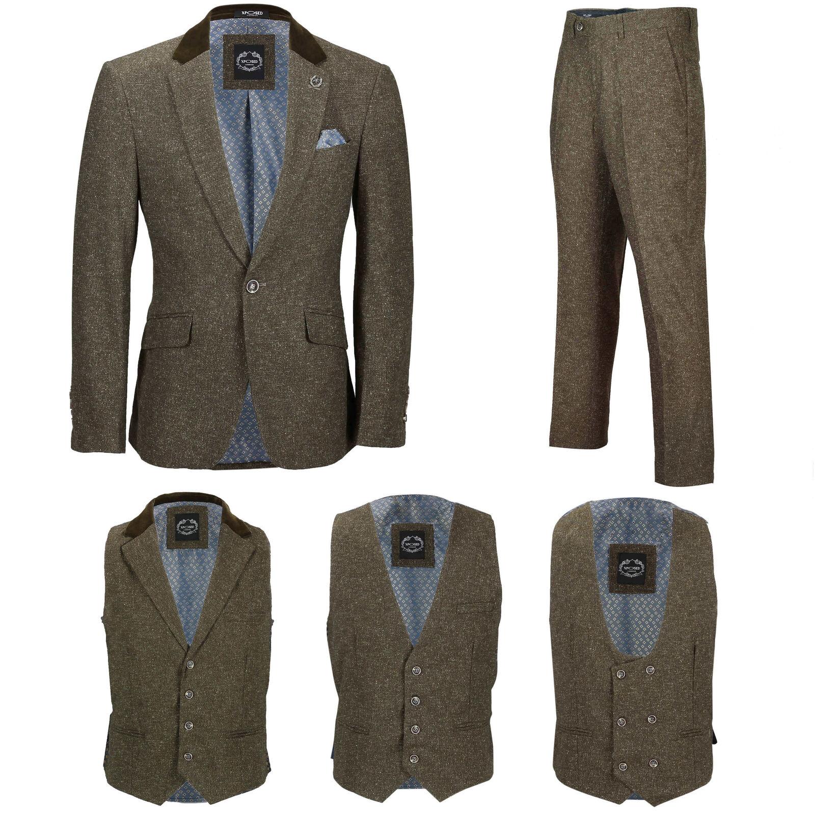 Herren Tan Tweed Wool 3 Piece Suit Sold Separately Retro Blazer Waistcoat Trouser