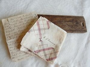 Edgar Downing Antique Hand Made Wood Pencil Box, Handkerchief & Letter from 1915
