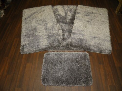 ROMANY GYPSY WASHABLES SPARKLY DESIGNS SET OF 4PC MATS NEW GREYS//SILVER NON SLIP