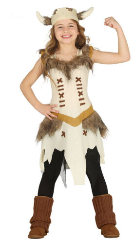 Girls Viking Costume Warrior Saxon Fancy Dress Up Outfit with Fur Age 4-12 NEW