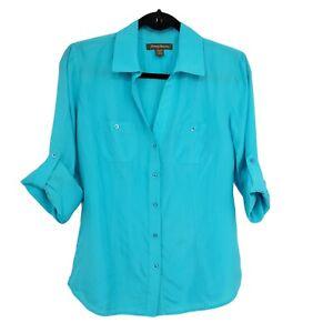 Tommy Bahama Women's Button Front Shirt Blouse Silk Aqua Roll Tab Long Sleeve XS