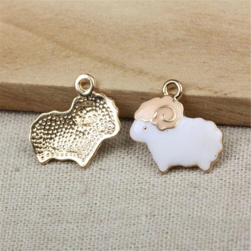 2//5//10PCS Cartoon Enamel Sheep Charm Pendant For DIY Earrings//Bracelet//Necklace