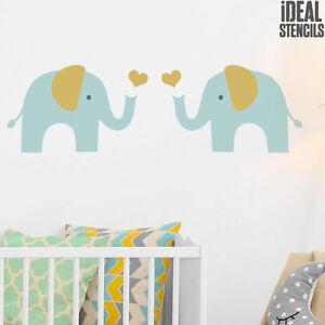 Elefant Schablone Kinderzimmer Wand Dekoration Wiederverwendbar ...