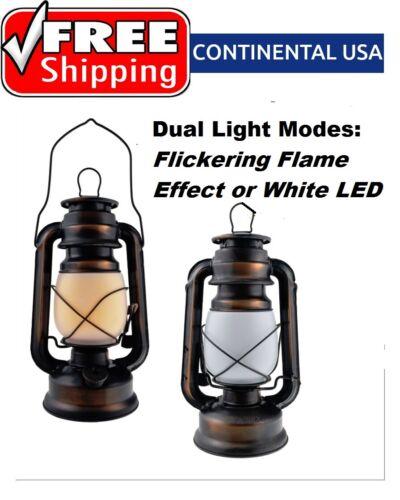 Véritable Métal Mode Dual Vintage Lanterne Modes Clignotante Flamme Effet ou DEL Blanc