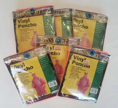 """Details about  /Vinyl Rain Poncho Size 58/"""" By 80/"""" Stansports Lot Of 6 Hood Snap Closure Orange"""