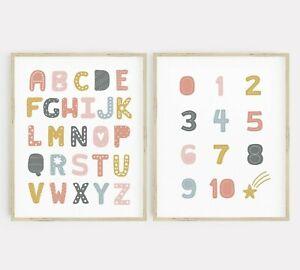 Rosa Gris Scandi Alfabeto Números Pared Arte Conjunto de vivero sala de juego de impresión 2 637-A