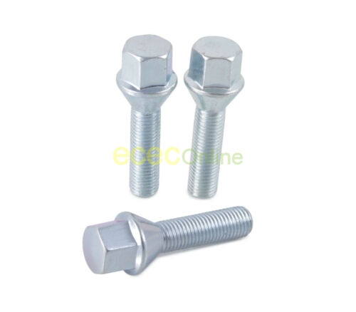 10pc Silver OEM Length Lug Bolts 12x1.5 Threads 26mm Shank Cone Seat