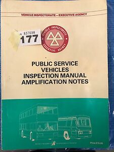 vehicle inspectorate psv inspection manual bus part ref 177 ebay rh ebay co uk Pennsylvania Inspection Manual Home Inspection Manual