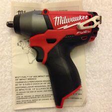 """New Milwaukee Fuel M12 2454-20 12V Li-ion 3/8"""" Brushless Impact Wrench"""