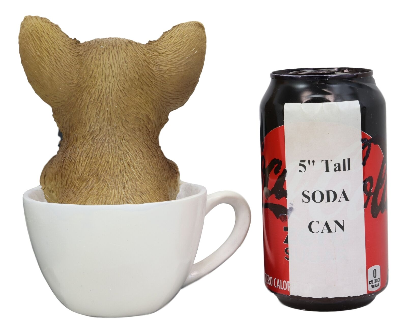 """Realistic Chihuahua Dog in Paw Prints Teacup Statue 6.25/""""H Taco Pet Pal Figurine"""