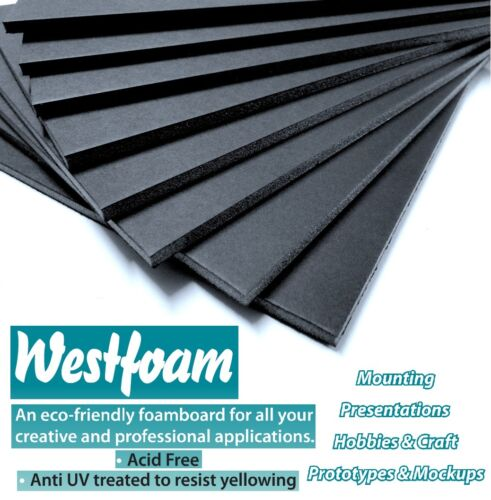 Foam Board A2 Black 5mm Thick Mount Board Sign Sheet Craft 420mm X 594mm