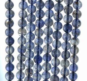 "5MM BERMUDAN BLUE IOLITE GEMSTONE GRADE AB BLUE ROUND 5MM-6MM LOOSE BEADS 16/"""