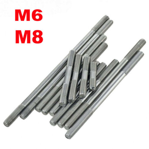 1//2//5//10pcs Stainless Steel Double End Threaded Stud Bolts Screws 6mm M6/&8mm M8