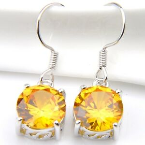 Summer-Shiny-Gift-Round-Cut-Natural-Golden-Citrine-Silver-Dangle-Hook-Earrings