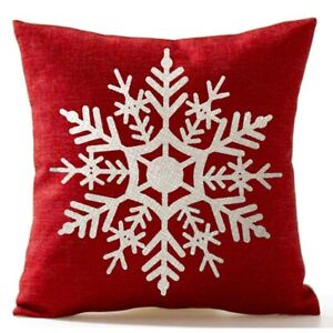 Snowflake-Christmas-Gifts-flax-Throw-Pillow-Case-Cushion-Cover-18-X-18-034-U7J7