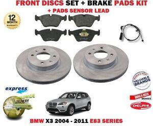 FOR BMW X3 E83 2004- 2011 NEW FRONT BRAKE DISCS SET + PADS KIT + WIRE SENSOR