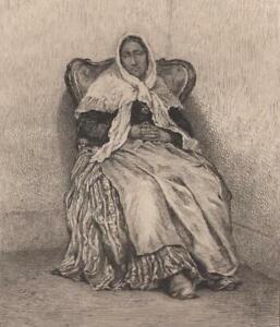 Edmond-Hedouin-Vielle-femme-espagnole-Eau-Forte-ancienne-Lerat-XIXe