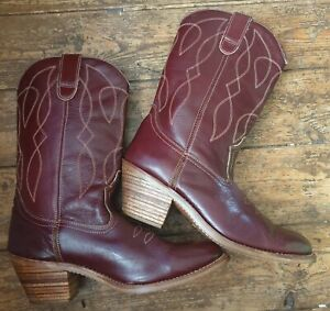 """HH deep red leather cowboy boots s.9, mid calf (12""""), stitch & pull tab detail."""