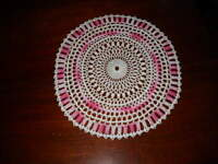 Beautiful NEW Hand Crocheted Doily Pink Verigated HI-173