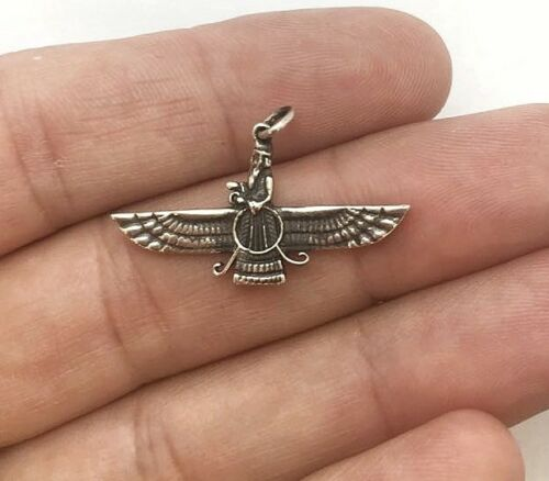 925 Argent AHURA MAZDA Farvahar zoroastrienne Pendentif noir peint 32 mm