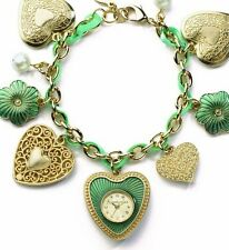 Accessorize Hearts and Flowers Ladies Charm Watch J1050 Gold and Green