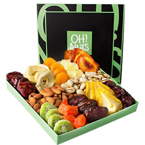 Holiday Nut and Dried Fruit Gift Basket, Healthy Gourmet Snack Christmas Food &
