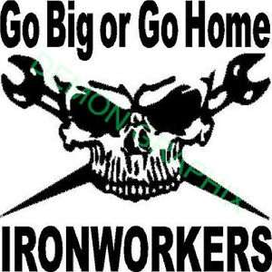 Skull vinyl decal//sticker 5x5 Ironworker rigger wrenches