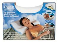 Set Of 2 Contour Cloud Foam Pillows Orthopedic Support For Bed, Head And Neck