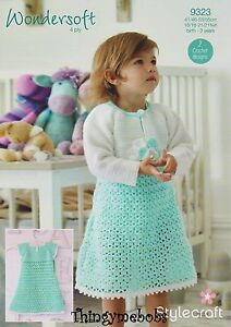 STYLECRAFT-9323-WONDERSOFT-4-PLY-DRESS-BOLERO-ORIGINAL-CROCHET-PATTERN-0-3-YRS